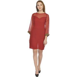 YoO Fashions Maroon Plain Mini Dress For Women