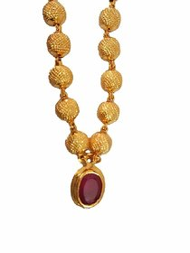 18K Gold Plated Ruby Studded Pendant Set Necklace Chain And Pendant for Women And Girls