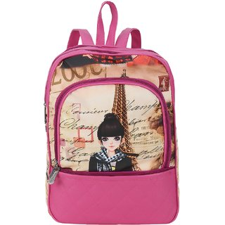 Barbie Doll Printed Stylish Pithu Backpack best for daily use, College and Office use bag, for Girls and Women( Pink , 5