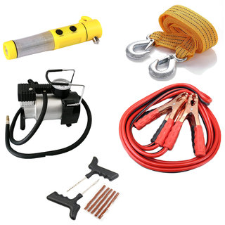 Spidy Moto Car Emergency Combo Air compressor+Towing rope+Jumper cable+5 in 1 hammer+Tubeless kit