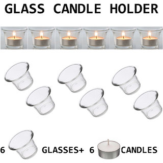 DIWALI FESTIVALS DECORATIVE 6 PIECE TEALIGHT CANDLE HOLDERS WITH 6 PIECE CANDLES
