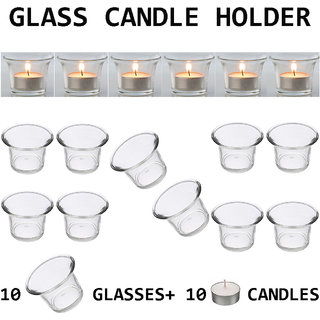 DIWALI FESTIVALS DECORATIVE 10 PIECE TEALIGHT CANDLE HOLDERS WITH 10 PIECE CANDLES