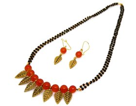Red Glass Bead Mangalsutra With Matching Earrings MMS-108