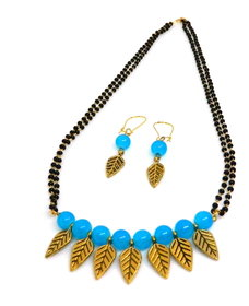 Turquoise Blue Glass Bead Mangalsutra With Matching Earrings - MMS-109