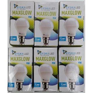 9 W syska led bulb ( COMBO PACK OF 6 BULB)