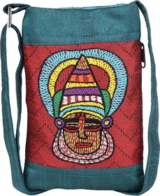Mobile Pouch Embroidery Kathakali Emb Teal Green