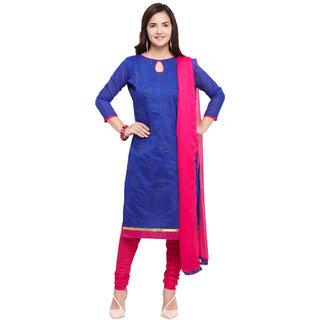 Vkaran Blue Chanderi Cotton Embroidered Dress Material