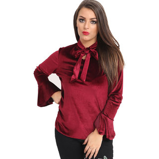 6f0f0a57af461 Buy Raabta Maroon Bell Sleeves Top With Neck Knot Online - Get 69% Off