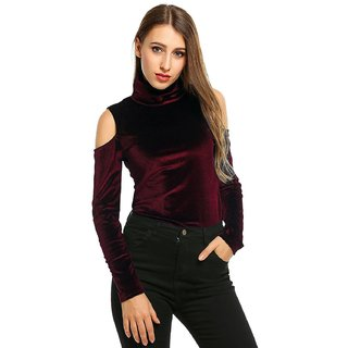 7f99d4b09594c Buy Raabta Maroon Cold Shoulder Velvet top full sleeves Online - Get ...