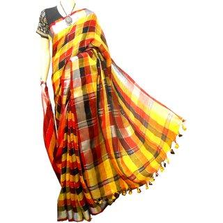 linen saree, linen silk product handloom