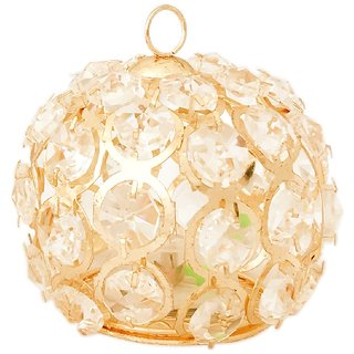 CREW4 Yellow Led Light in Hanging Pendant Style for Home Diwali Decoration Lightning (Golden, Round) - Pack of 2