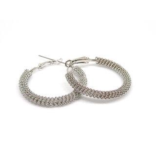 Designer Silver Sparkling Textured Hoop Bali Earrings For Women MSE-108