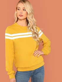 Code Yellow Women's Mustard Striped Tunic Pullover Sweatshirt