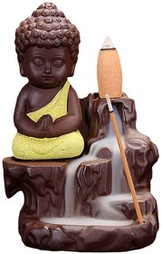 Euskara - Buddha Smoke Backflow Incense Holder with 10 Scented cones - Yellow