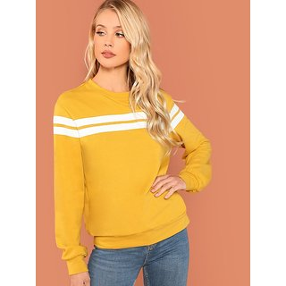 Code Yellow Women's Mustard Striped Tunic Pullover Sweatshirt