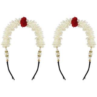 Gulzar White Gajra(Veni) Accessories Hair Accessory Set (White) Hair Accessory Set (White) Hair Band (White) Bun Clip  (