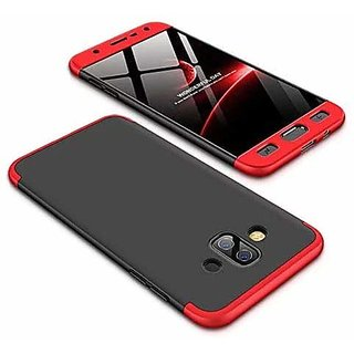 RGW Protective Soft  Flexible 3 in 1 Case Cover for Samsung J7 Duo (Red  Black) + Free Selfie Stick