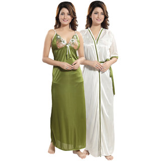 Be You Green Solid Women Nighty with Robe (2 pieces Nighty Set)