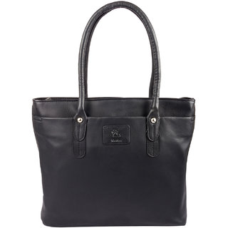 Kara WomenS Black Leather Hand Bag