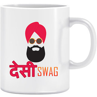 Joy N Fun - Desi  Swag - Printed Coffee Mug 320ml White