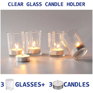 Diwali Festival Decorative Tealight Clear Glass Votive  Candle Holder set of 3 glass + 3 tealight candles