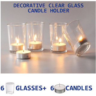 Diwali Festival DECORATIVE 6 PIECE TEALIGHT CANDLE Glass HOLDERS WITH 6 PIECE CANDLES