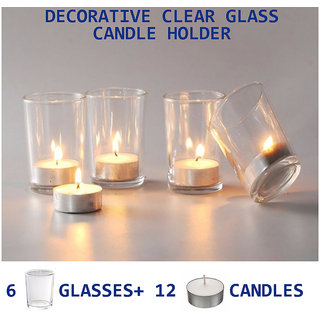 Diwali Festival Decorative Votive Candle Holders 6 glass + 12 tealight candles