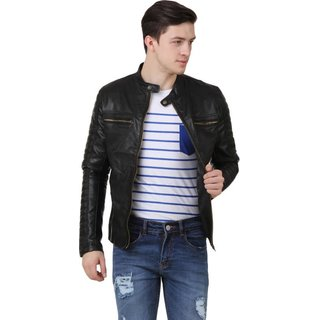Ajeraa Men's Black Regular Casual Jackets