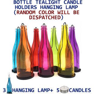 DECORATIVE BOTTLE TEALIGHT CANDLE HOLDERS HANGING LAMP 3PC Holder + 5 Pcs Tealight Candles (Random Color)