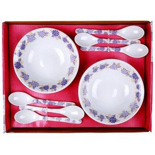 Mehul Crockery 12 Pcs Snack Bowl Set Bowl Size - 16.5 cm Multicolour - Melona Violet Design (6 Bowls 6 Spoon)