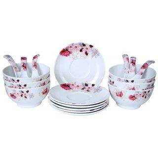 Mehul Crockery Melamine 18 Pcs Soup Bowl Set - 5 inch Multicolour (6 Soup Bowl 6 Saucer Plate 6 Soup Spoon)