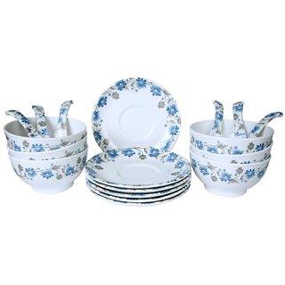 Mehul Crockery Melamine 18 Pcs Soup Bowl Set - Multicolour