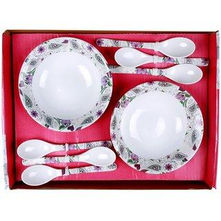 Mehul Crockery 12 Pcs Snack Bowl Set Bowl Size - 16.5 cm Multicolour - Orchid Design (6 Bowls 6 Spoon)