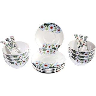 Mehul Crockery Melamine White Daisy Round Soup Bowl Set - (6 Soup Bowl, 6 Saucer Plate  6 Soup Spoon), Multicolour