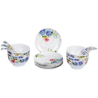 Mehul Crockery Melamine Blue Glory (7010) Round Soup Bowl Set - (6 Soup Bowl 6 Saucer Plate 6 Soup Spoon) Multicolour