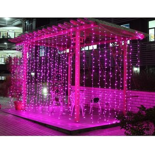 Ever Forever Water Fall Mode LED Curtain String Lights Pink