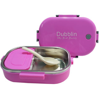 6th Dimensions Polypropylene (PP) Double Compartment Lunch Box (Pink)