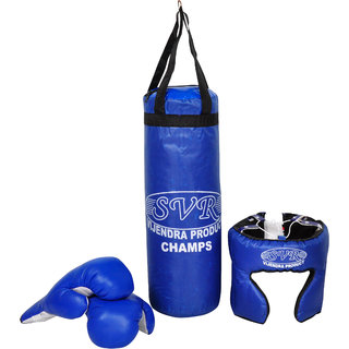 SVR Boxing Kit Set for Kids in Blue - Pack of 3 Standard Size Tetron