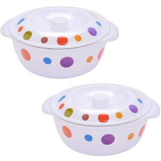 Mehul Melamine Polka Dot Design Casserole with Lid Set 2 Pcs Set
