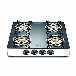 Glee 4 Burner Front Taper Stainless Steel Body Toughen Black Glass Gas Stove