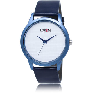 Lorem Round Dial Blue Leather Strap Quartz Watch For Men