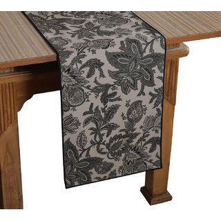 Bilberry Furnishing By Preeti Grover 100 Cotton Handcrafted Green Floral Printed Table Runner (TR03) - (Table Runner Size 14x36)