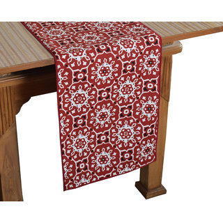 Bilberry Furnishing By Preeti Grover 100 Cotton Marron Floral Printed Table Runner (TR05) - (Table Runner Size 14x72)