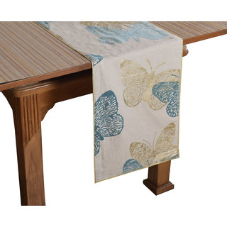 Bilberry Furnishing By Preeti Grover 100 Cotton Aqua  Gold Butterfly Printed Table Runner (TR06) - (Table Runner Size 14x36)