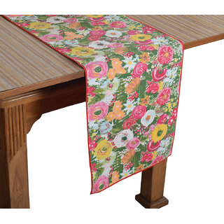 Bilberry Furnishing By Preeti Grover 100 Cotton Handcrafted Floral Printed Table Runner (TR11) - (Table Runner Size 14x36)
