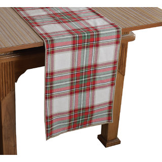 Bilberry Furnishing By Preeti Grover 100 Cotton Marron  Green Check Pattern Table Runner (TR12) - (Table Runner Size 14x72)