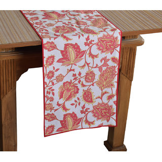 Bilberry Furnishing By Preeti Grover 100 Cotton Elegant Print with Red Border Table Runner (TR13) - (Table Runner Size 14x72)