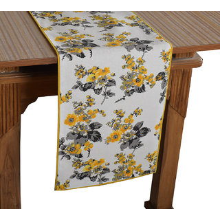 Bilberry Furnishing By Preeti Grover 100 Cotton White  Yellow Floral Printed Table Runner (TR18) - (Table Runner Size 14x72)