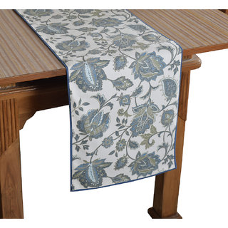 Bilberry Furnishing By Preeti Grover 100 Cotton White  Aqua Elegant Print Table Runner (TR19) - (Table Runner Size 14x36)