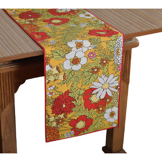 Bilberry Furnishing By Preeti Grover 100 Cotton Multicolor Floral Print Table Runner (TR22) - (Table Runner Size 14x72)